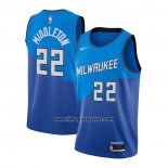 Maglia Milwaukee Bucks Khris Middleton No 22 Citta 2020-21 Blu