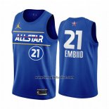 Maglia All Star 2021 Philadelphia 76ers Joel Embiid No 21 Blu
