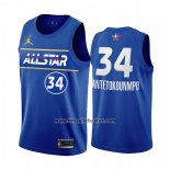 Maglia All Star 2021 Milwaukee Bucks Giannis Antetokounmpo No 34 Blu