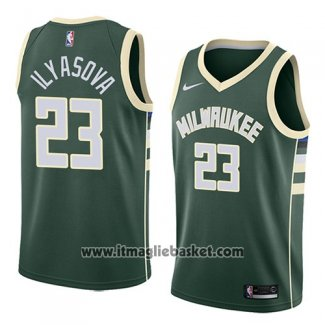 Maglia Milwaukee Bucks Ersan Ilyasova No 23 Icon 2018 Verde