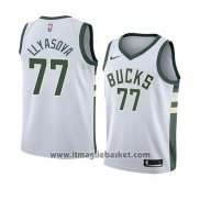 Maglia Milwaukee Bucks Ersan Llyasova No 77 Association 2018 Bianco