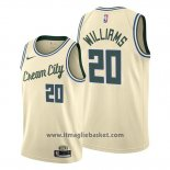 Maglia Milwaukee Bucks Marvin Williams No 20 Citta 2019-20 Crema