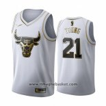Maglia Golden Edition Chicago Bulls Thaddeus Young No 21 2019-20 Bianco