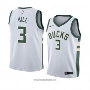 Maglia Milwaukee Bucks George Hill No 3 Association 2018 Bianco