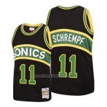 Maglia Seattle Supersonics Detlef Schrempf No 11 Mitchell & Ness 1994-95 Nero